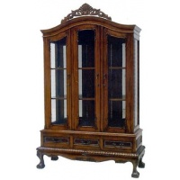 Indonesia furniture manufacturer and wholesaler Chippendale cabinet 3 door with Drawer